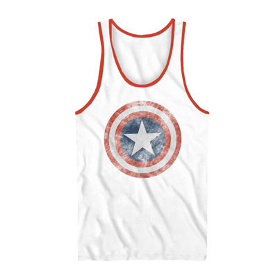 Mens Crew Neck Sleeveless Captain America Tank Top