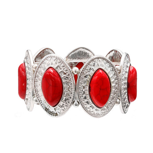 Mixit™ Red Silver-Tone Etched Oval Stretch Bracelet