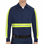 Red Kap® Enhanced-Visibility Industrial-Cotton Long-Sleeve Work Shirt - Big & Tall