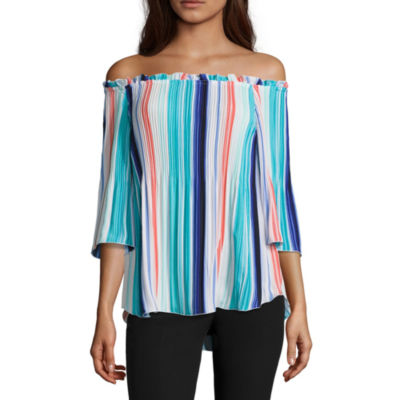 Worthington 3/4 Sleeve Off-Shoulder Pleat Blouse