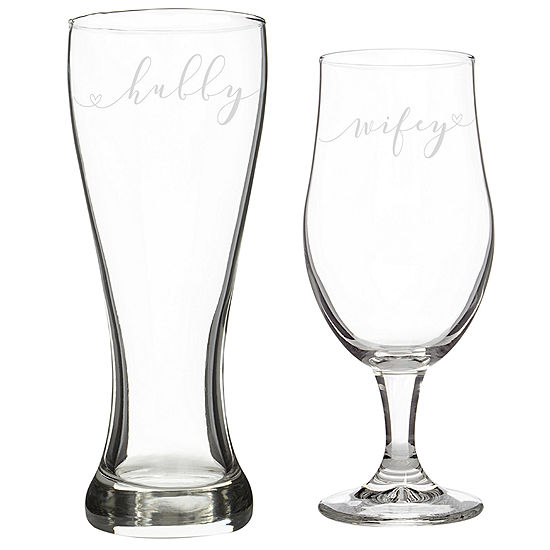 Cathys Concepts Hubby Wifey 2 Pc Pilsner Glass