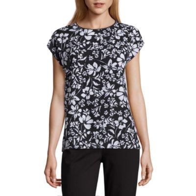Liz Claiborne Short Sleeve Overlap Woven Blouse