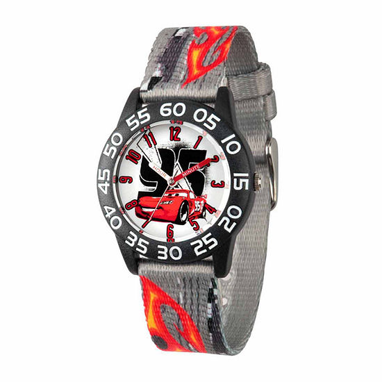 Disney Cars Boys Gray Strap Watch-Wds000022