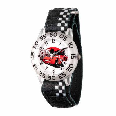 Disney Cars Boys Black Strap Watch-Wds000023