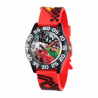 Disney Cars Boys Red Strap Watch-Wds000024