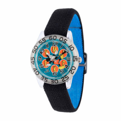 Disney Mickey Mouse Boys Black Strap Watch-Wds000110