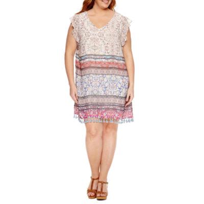 R & K Originals Short Flutter Sleeve Tassle Trim Sheath Dress - Plus