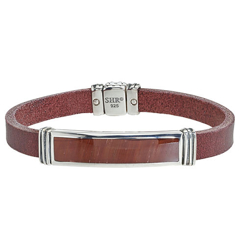 Mens Red Tiger'S Eye Sterling Silver Id Bracelet