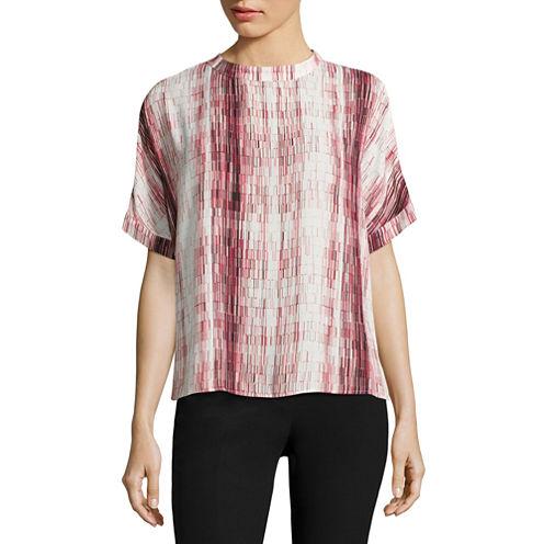 Worthington Short Sleeve Mock Neck Woven Stripe Blouse