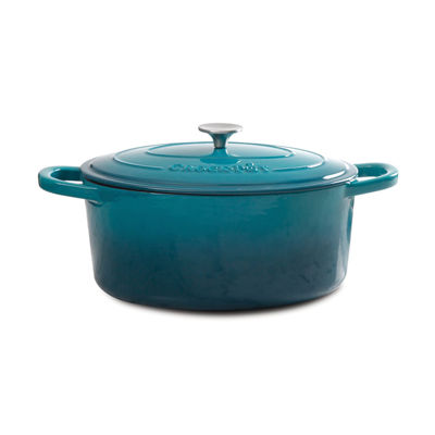 Artisan 5 Qt Round Dutch Oven - Teal Ombre - Enamel - Brushed SS Hollow Knob - Cast Iron