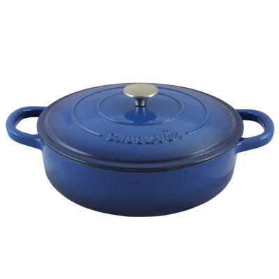 Crock Pot Artisan Enameled 5 Quart Cast Iron Round Braiser Pan with Self Basting Lid