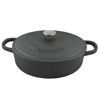 Crock Pot Artisan 5 Quart Preseasoned Cast Iron Round Braiser Pan with Self Basting Lid