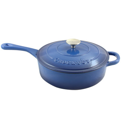 Crock Pot Artisan Enameled 3.5 Quart Cast Iron Deep Sauté Pan With Self Basting Lid
