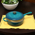 Crock Pot Artisan Enameled 3.5 Quart Cast Iron Deep Sauté Pan With Self Basting Lid