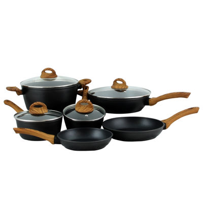 Oster Cuisine Newbury 10 piece Nonstick Forged Aluminum Cookware in Satin Matt Black with Wood Look Handle