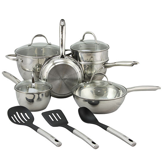 Oster Ridgewell 13 piece Stainless Steel  Belly Shape Cookware Set in Silver Mirror Polish with Hollow Handle