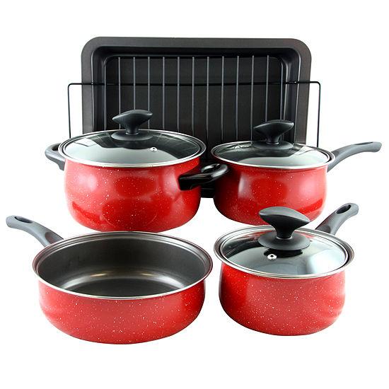 Sunbeam Kelfield 9 piece Nonstick Cookware Set in Red with Bakelite Handle/Knob
