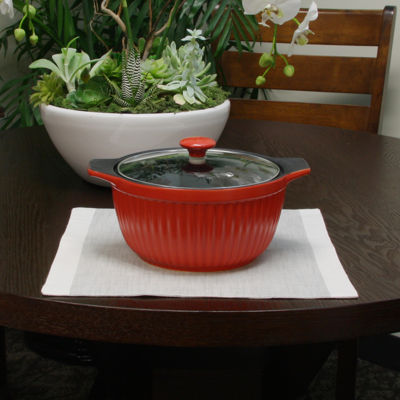 Crock-Pot Denhoff 3 Quart Ribbed Casserole & Glass Lid