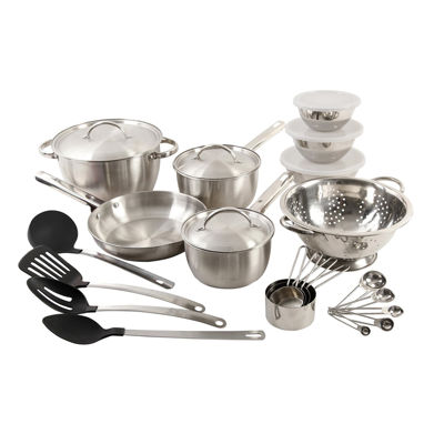 Grantsville 27 pc Cookware Combo Set - Brushed - SS Hollow Long Handle - SS - 0.4 mm