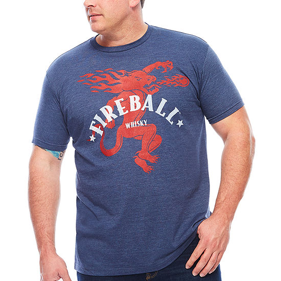Big and Tall Fireball Whiskey Mens Crew Neck Short Sleeve Graphic T-Shirt