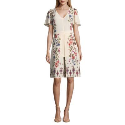 Heart N Soul Short Sleeve Floral Maxi Dress-Juniors
