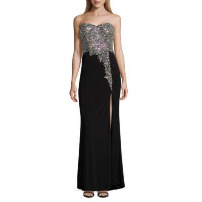 Crystal Sky Sleeveless Beaded Evening Gown-Juniors