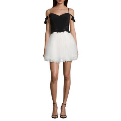 Speechless Short Sleeve Fit & Flare Dress-Juniors