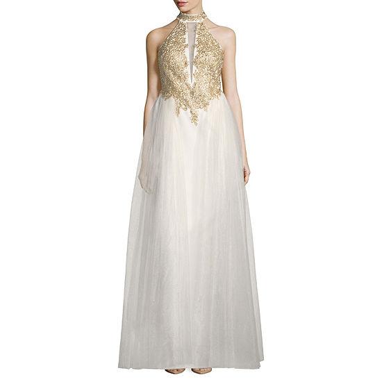 My Michelle Sleeveless Applique Evening Gown-Juniors