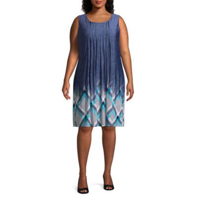 Perceptions Sleeveless Bordered Shift Dress - Plus