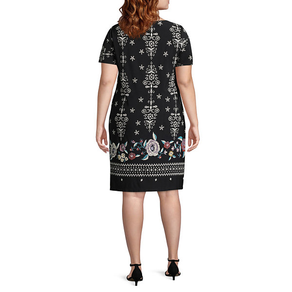 Perceptions Short Sleeve Embroidered Shift Dress-Plus