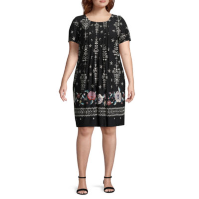 Perceptions Short Sleeve Embroidered Shift Dress - Plus