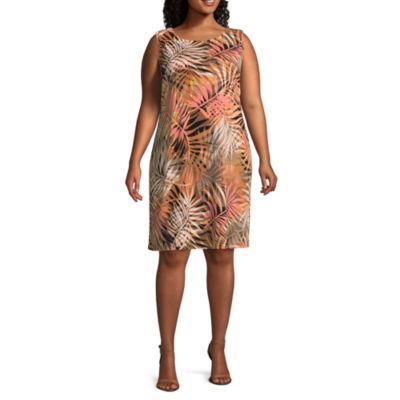 MSK Sleeveless Leaf Shift Dress - Plus