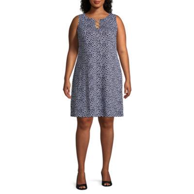 MSK Sleeveless Polka Dot Shift Dress - Plus