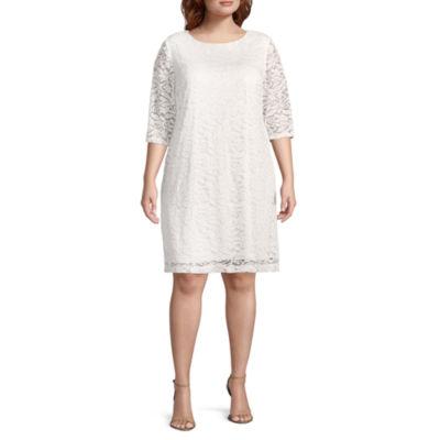 Studio 1 3/4 Sleeve Floral Sheath Dress - Plus