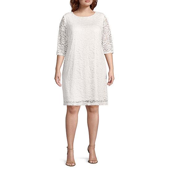 Studio 1 3 4 Sleeve Floral Sheath Dress Plus