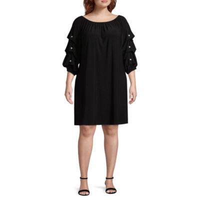 MSK 3/4 Sleeve Beaded Shift Dress - Plus
