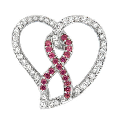 Womens 1 CT. T.W. Pink Sapphire 14K White Gold Heart Pendant Necklace