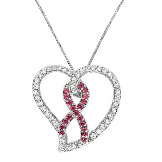 Womens 1 CT. T.W. Genuine Pink Sapphire 14K White Gold Heart Pendant Necklace
