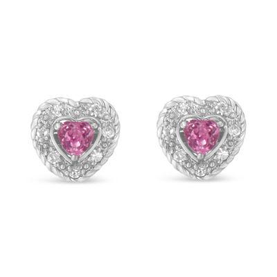 1/3 CT. T.W. Pink Sapphire Sterling Silver Heart Stud Earrings
