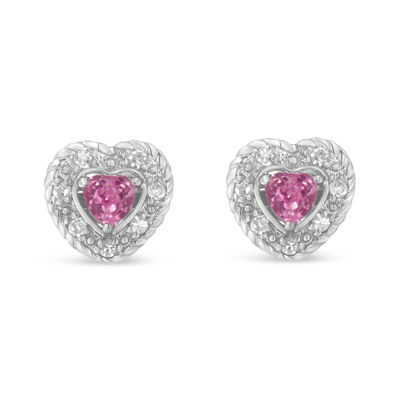 1/3 CT. T.W. Pink Sapphire Sterling Silver Heart Stud Earrings