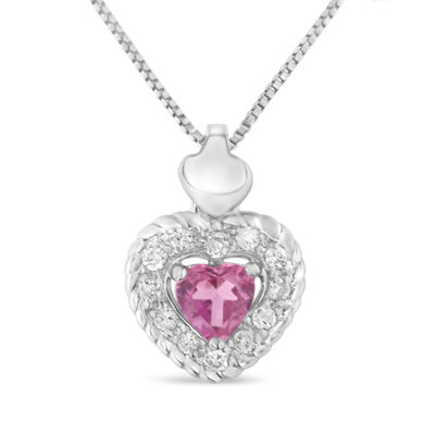 Womens 1/3 CT. T.W. Pink Sapphire Sterling Silver Pendant Necklace