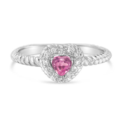 Womens 1/3 CT. T.W. Pink Sapphire Sterling Silver Heart Halo Cocktail Ring