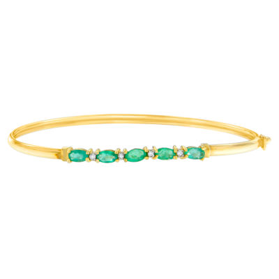 Womens Diamond Accent Green Emerald 10K Gold Bangle Bracelet