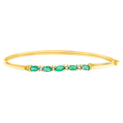 Diamond Accent Green Emerald 10K Gold Bangle Bracelet