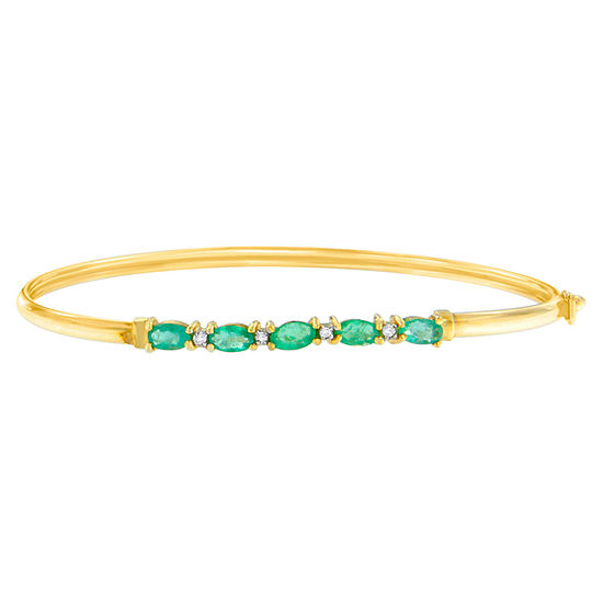 Diamond Accent Genuine Green Emerald 10K Gold Bangle Bracelet
