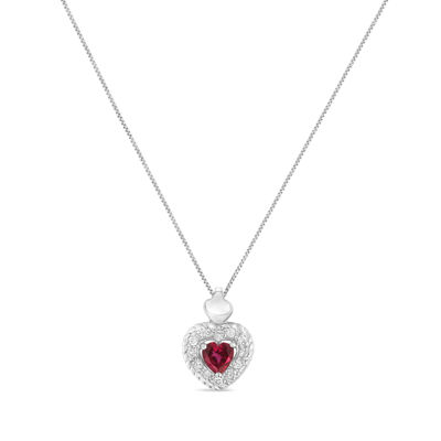 Womens 1/3 CT. T.W. Lab Created Red Ruby Sterling Silver Heart Pendant Necklace