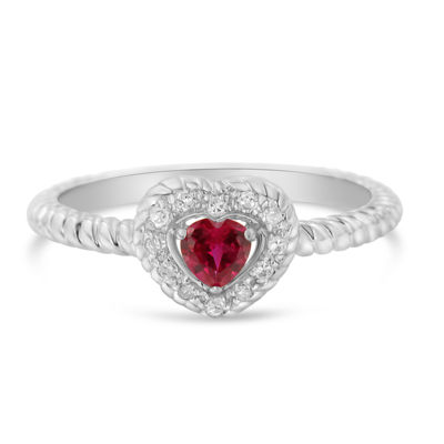 Womens 1/3 CT. T.W. Red Ruby Sterling Silver Heart Halo Ring