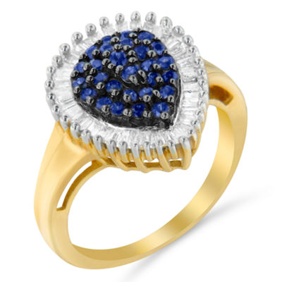 Womens 1 CT. T.W. Blue Sapphire 10K Gold Cluster Ring