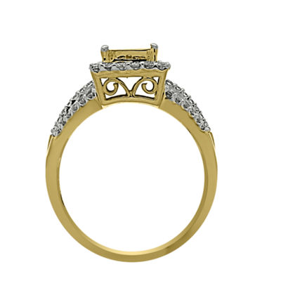 Womens 1 CT. T.W. Genuine White Diamond 14K Gold Cocktail Ring