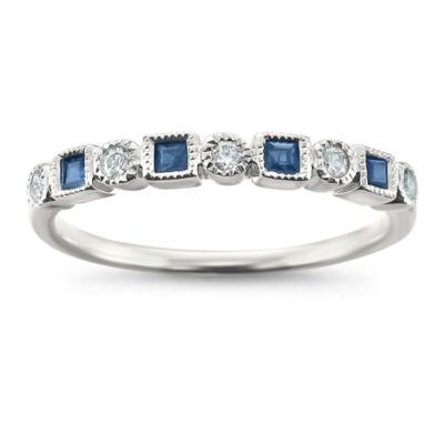 Modern Bride Gemstone Womens 2.5mm 1/4 CT. T.W. Blue Sapphire 14K White Gold Wedding Band